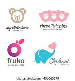 Set of logo baby goods, children's books, toys. Kids club