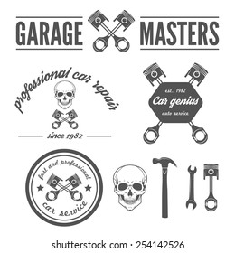 Set of logo, badge, emblem and logotype elements of car repair and auto service