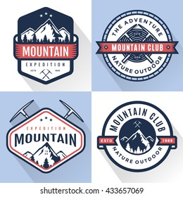 Set of logo, badges, banners, emblem for mountain, hiking, camping, expedition and outdoor adventure.  Exploring nature. Vector illustration.