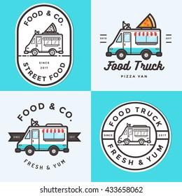 Set of logo, badges, banners, emblem for food truck festival and fast food delivery. Vector illustration.