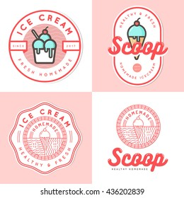 Set of logo, badges, banners, emblem and elements for ice cream shop. Vector illustration