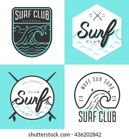 Set of logo, badges, banners, emblem and elements for surf club. Vector illustration