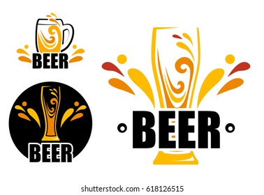 Set Logo beer shop. Vector illustration of a beer sign. Orange and yellow splashes of drink in a mug. Symbol glass beer. Flat style. Symbol one glass of beer.