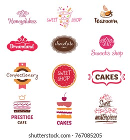 Set of logo for confectionery, coffee shop, tea room, chocolate cafe. Big wedding cakes with fillings. Text honeydukes and dreamland. Sweet masterpiece market. Vector illustration