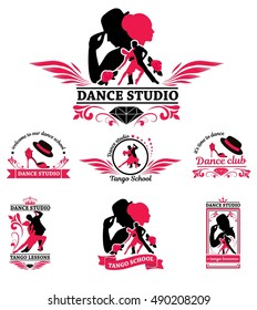 Set logo of dancing couple. Dancer tango illustrations. Dancing people set. The character set for tango. Use for tango studio poster, flayer, web-sites. Tango inscription.