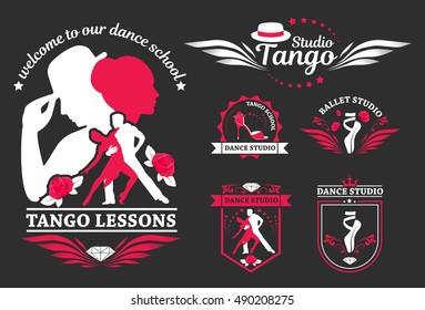 Set logo of dancing couple. Dancer tango illustrations. Dancing people set. The character set for tango.