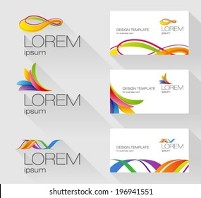 Set of logo design elements with business card template