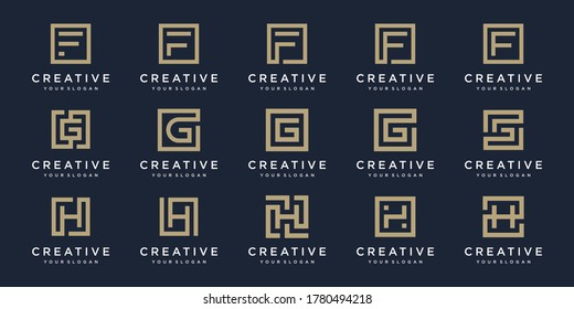 set of Logo design letters F, G, and H with Square style. Vector template