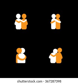 set of logo designs of friends hugging each other - vector icons. this also represents concepts like bonding, close relationship, intimacy and love, brother and sister, lovers, partners