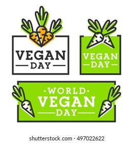 Set logo, emblem, label. Happy Vegan Day. Vegan food. Vegetarian day.