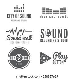 Set of logo, emblem, label or logotype elements for recording studio or sound production studio