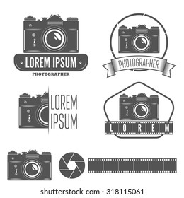 Set of logo, emblem, label or logotype elements for studio or photographer, photograph