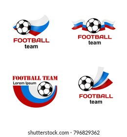 Set Logo Football team in Russia. Poster with Russian flag. Vector Illustration. Flat colored banner isolated soccer ball concept. Football sport banner.
