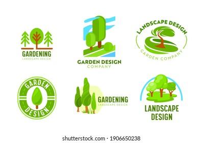 Set of Logo Garden Landscape Design. Gardening, Green Landscaping Company Icons. Tree Park, Nature Eco Village Woodland and Parkland Horticulture and Planting Association. Cartoon Vector Illustration