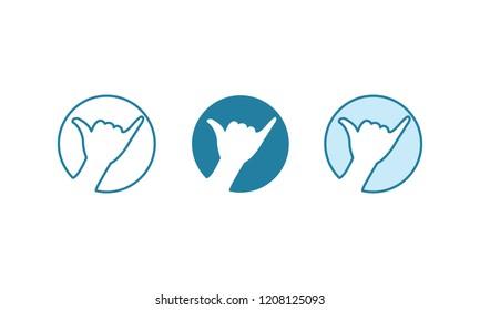 set of logo hang loose.