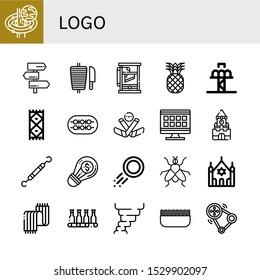 Set of logo icons. Such as Black hole, Signpost, Shawarma, Guillotine, Pineapple, Drop tower, Carpet, Shish kebab, Ice hockey, Grid, Kremlin, Dentist tools, Creative , logo icons