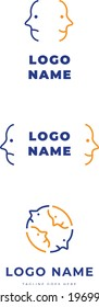 Set of logo identity with two different emotional faces for couple therapy relationship problems
