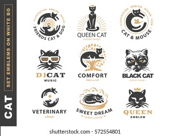 Set logo illustration with cat, emblem design on white background