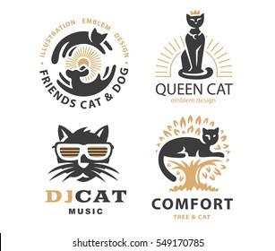 Set logo illustration with cats, emblem design on white background.