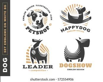 Set logo illustration dog, pet emblem design on white background