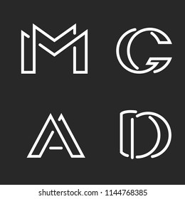 Set logo M, D, A, G letters monograms logos, group creative linear marks, overlapping black and white thin lines business or wedding card emblems