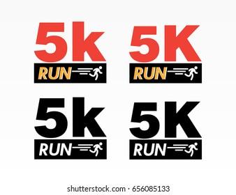 Set of logo marathon running finisher 5K . Flat vector illustration on white background.