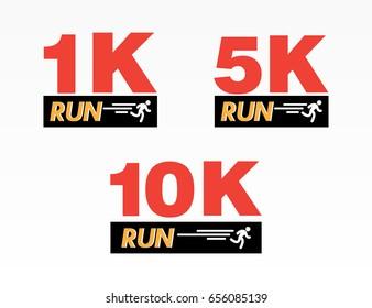 Set of logo marathon running finisher 1K, 5K and 10K. Flat vector illustration on white background.