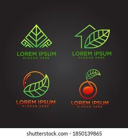 Set logo rectangular leaf, green house, fruit and leaf an music leaf logo vector for bussines and commercial use