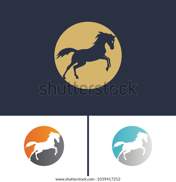 Set logo running horse, two-colored circle and running horse in it