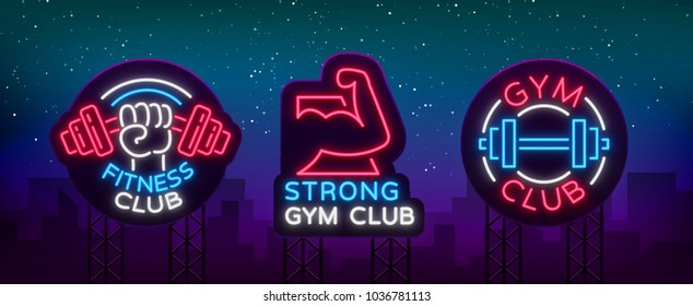 Set logo signs on fitness theme, bodybuilding in neon style isolated, vector illustration. Glowing banner, bright neon sign, night advertisement of fitness club, sports hall, sports club. Billboard
