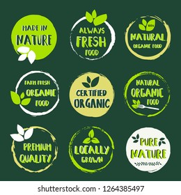 Set of logo stickers labels and badges for organic food and drink, restaurant, food store, natural products, farm fresh food, e-commerce, healthy product promotion. - Vector