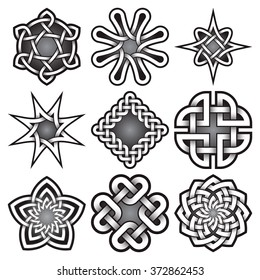Set of logo templates in Celtic knots style. Tribal tattoo symbols package. Nine silver ornaments for jewelry design. Monochrome logos design.