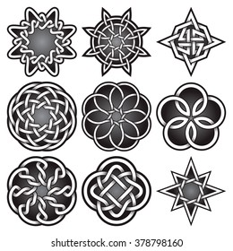 bc7883b16 Set of logo templates in Celtic knots style. Tribal tattoo symbols package.  Nine silver
