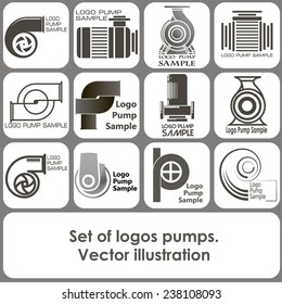 set of logo templates in the form of pumps