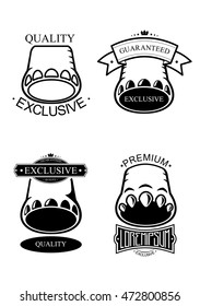 Set logo templates with the silhouette of an elephant foot, a hippo or a dinosaur, and additional elements to the framework for titles in different styles