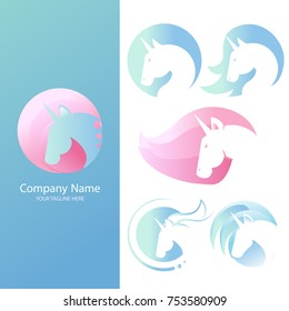Set Logo with a unicorn for your company. Pegasus Icon. Gradient vector flat line illustration.