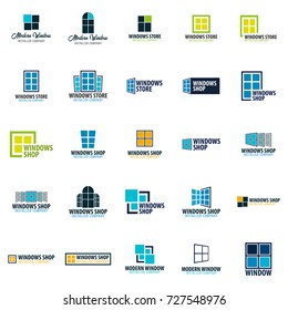 Set of Logo Windows store. Installer company. Vector illustration