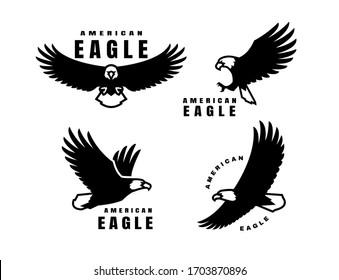Set of logos. American eagle in flight.