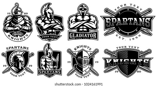Set of logos, badges with knights, gladiators, spartan warriors. Logo design for fight clubs, fitness center, gym. Text is on the separate layer. (VERSION FOR WHITE BACKGROUND)
