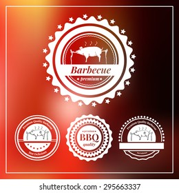 Set of logos, badges and labels for restaurant and cafes. Vector illustration. Hand-drawn element pig on a spit. BBQ, barbecue, picnic, camping logo.