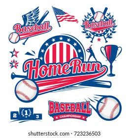 Set of logos of baseball, ball, bit, player, run to base, home run