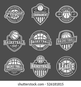 set of logos for basketball game events. vector illustration