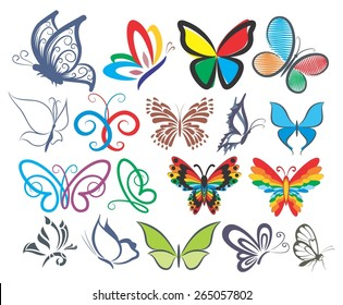 Set of logos of butterflies in different styles.