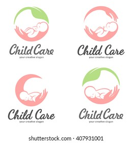 Set of logos for child care, motherhood and childbearing