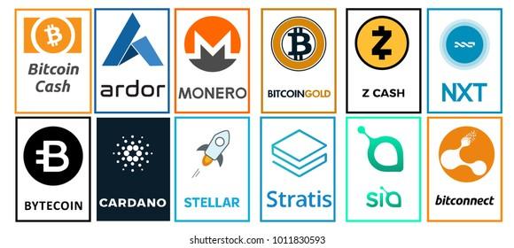 A set of logos of crypto-currencies - bitcoin cash, cardano, ardor, monero, bitcoin gold, zcash, nxt, bytecoin,stellar, stratis, sia, bitconnect. Vector illustration
