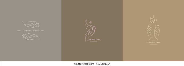 Set of logos. Delicate and true logos with the image of hands. Vector illustration for female business. Handmade or hand care. Logo for a beauty salon or massage.