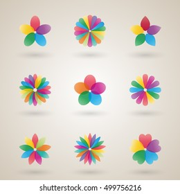 Set of logos design template a flower bud with bright petals, business icon, flat style, vector illustration.