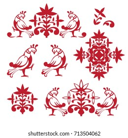 A set of logos drawn in vector in Old Russian style, flat design. The logo can be used for goods with traditionally Russian roots, for example, gingerbread, scarves, grasses, folk crafts, etc.