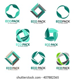 Set of logos eco-friendly packaging.