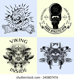 Set of logos with the effect of wear, scratches, grunge. Skull-pilot, the emblem of  Vikings, wild west coat of arms, athletic club.